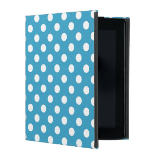 White Polka Dots on Peacock Blue Background iPad Case