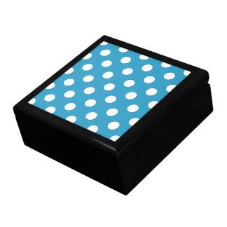 White Polka Dots on Peacock Blue Background Keepsake Box
