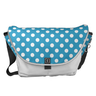 White Polka Dots on Peacock Blue Background Messenger Bag