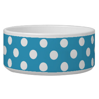 White Polka Dots on Peacock Blue Background Dog Water Bowls