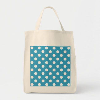 White Polka Dots on Peacock Blue Background Tote Bag