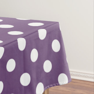 White Polka Dots On Perfect Plum Tablecloth