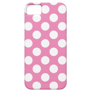 White Polka Dots on Pink iPhone SE/5/5s Case