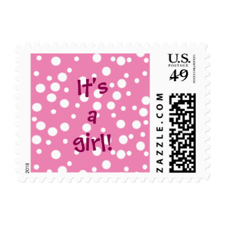 White Polka Dots on Pink Its a girl Baby Stamps
