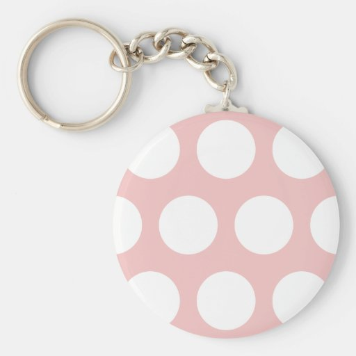 White Polka Dots on Pink Key Chains
