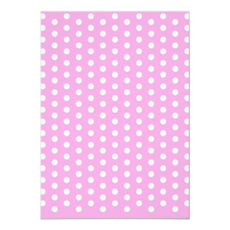 White Polka Dots on Pink Pattern Gifts 5x7 Paper Invitation Card