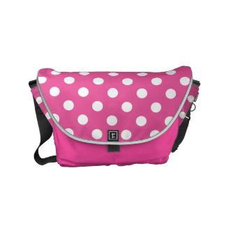 White Polka Dots on Pink Small Messenger Bag