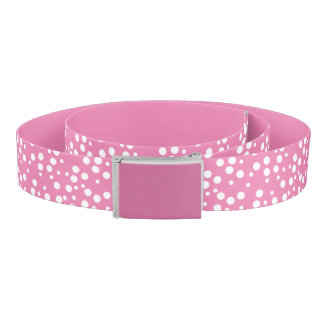 White Polka Dots on Pink Solid Pink Belts