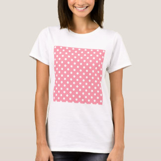 White Polka Dots on Pink T-Shirt