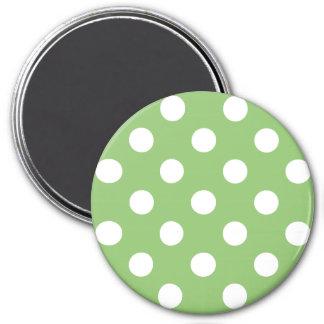 White Polka Dots on Pistachio Green 3 Inch Round Magnet