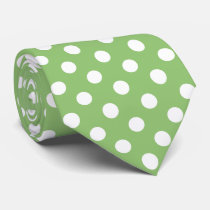 White Polka Dots on Pistachio Green Neck Tie