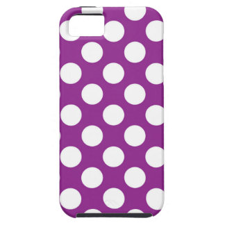 White Polka Dots on Purple iPhone SE/5/5s Case