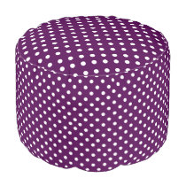 White Polka Dots on Purple Pouf