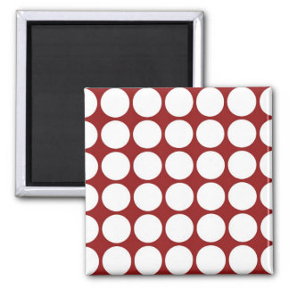 White Polka Dots on Red 2 Inch Square Magnet