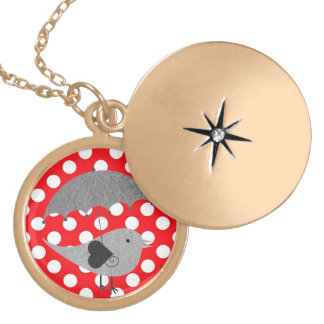 White polka Dots On Red Background Gold Plated Necklace