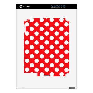 White polka Dots On Red Background iPad 2 Skin