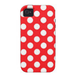White polka Dots On Red Background iPhone 4 Cases