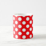 White polka Dots On Red Background Mugs