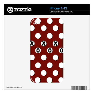 White Polka Dots on Red Background XXX OOO Skins For iPhone 4