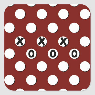 White Polka Dots on Red Background XXX OOO Square Stickers