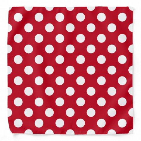 White polka dots on red bandana
