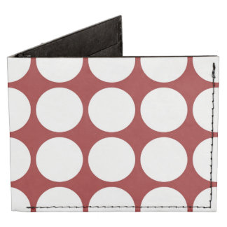 White Polka Dots on Red Billfold Wallet