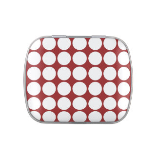 White Polka Dots on Red Candy Tins
