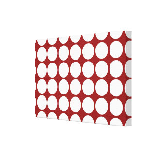 White Polka Dots on Red Canvas Print