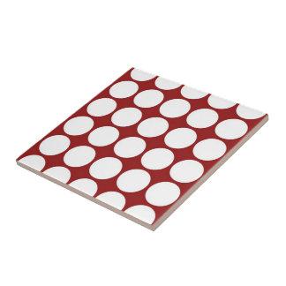 White Polka Dots on Red Ceramic Tile