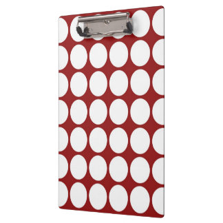 White Polka Dots on Red Clipboard