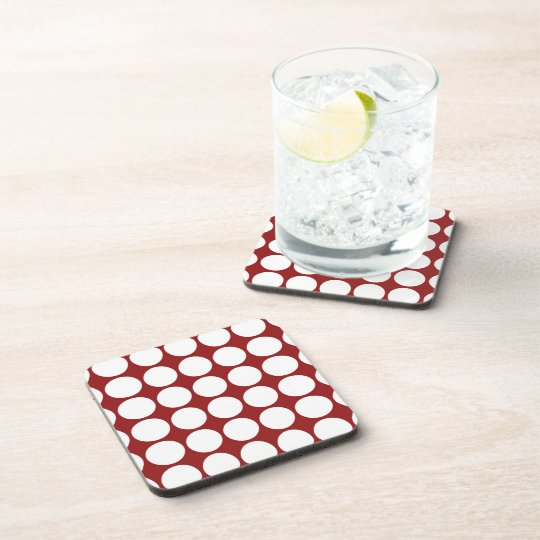 White Polka Dots on Red Coaster