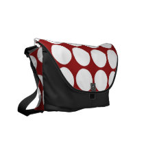 White Polka Dots on Red Courier Bag