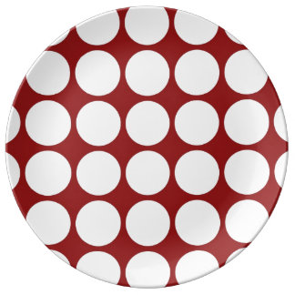 White Polka Dots on Red Dinner Plate