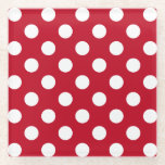 "White polka dots on red glass coaster<br><div class=""desc"">White polka dots on red</div>"