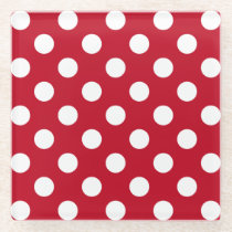 White polka dots on red glass coaster