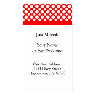 White Polka Dots on Red Just Moved Custom Cards Business Card