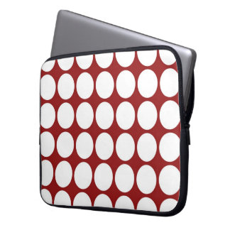 White Polka Dots on Red Laptop Sleeve