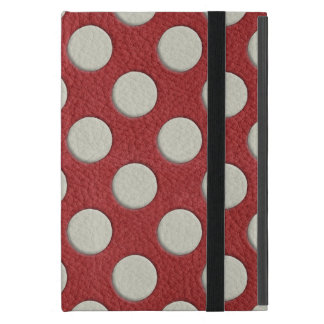 White Polka Dots on Red Leather print Case For iPad Mini