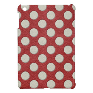 White Polka Dots on Red Leather print Cover For The iPad Mini