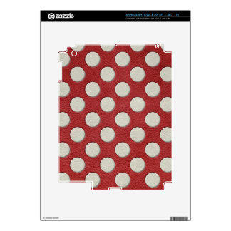 White Polka Dots on Red Leather print Decals For iPad 3