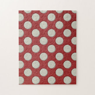 White Polka Dots on Red Leather print Jigsaw Puzzle