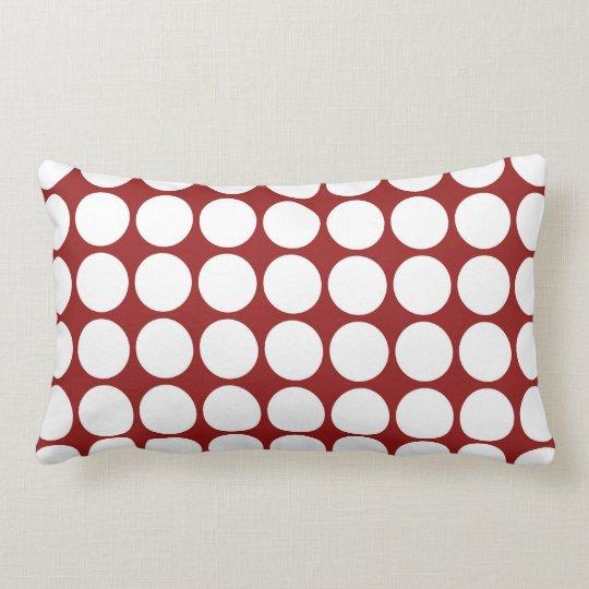 White Polka Dots on Red Lumbar Pillow
