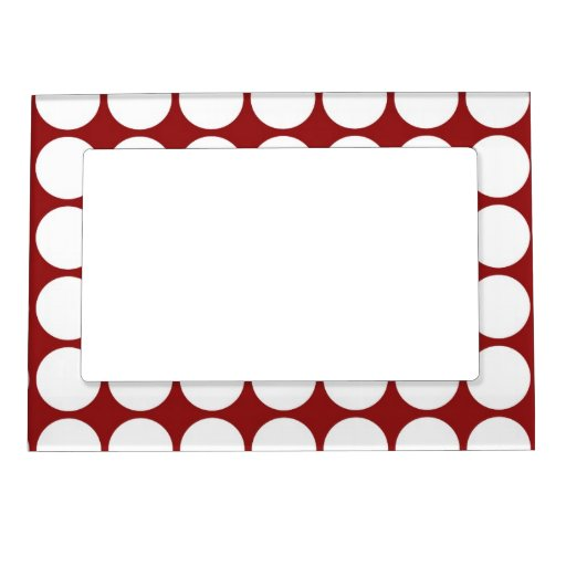 White Polka Dots on Red Magnetic Picture Frame