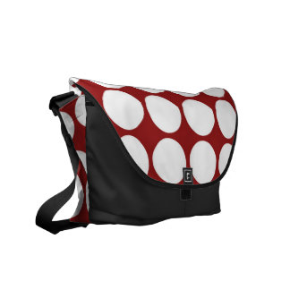 White Polka Dots on Red Messenger Bags
