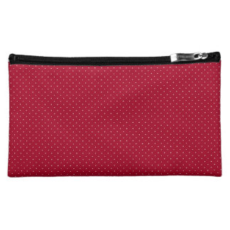 White Polka Dots on Red patterned Cosmetic Bag