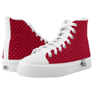 White Polka Dots on Red patterned High-Top Sneakers