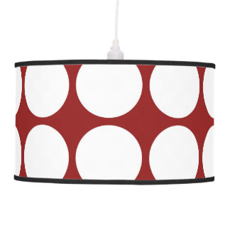 White Polka Dots on Red Pendant Lamp