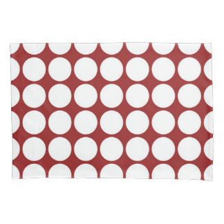 White Polka Dots on Red Pillow Case