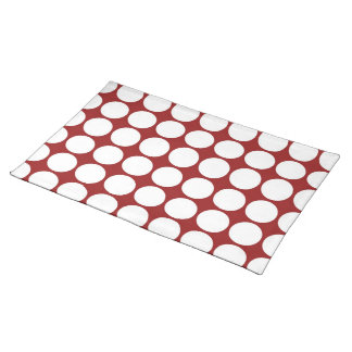White Polka Dots on Red Place Mat