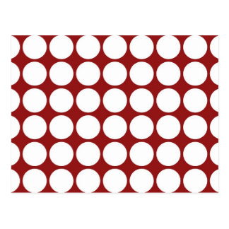 White Polka Dots on Red Postcard